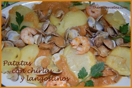 receta thermomix patatas con chirlas y langostinos