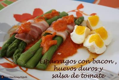 receta thermomix espárragos con bacon, huevos duros y salsa de tomate