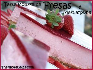 Tarta mousse de fresas y mascarpone recetas thermomix - Postres con fresas naturales ...