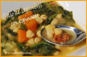 Receta Thermomix Guiso de legumbres con espinacas