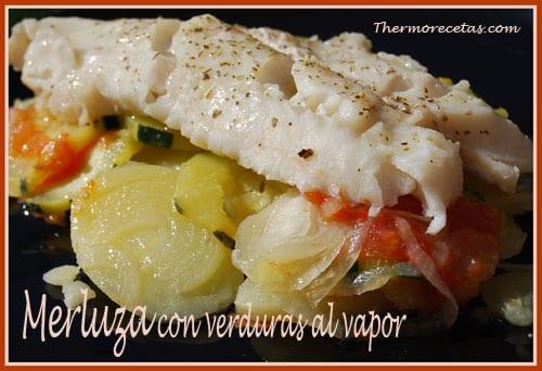 Receta Thermomix Merluza con verduras al vapor