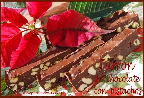 Receta Thermomix Navidad Turrón de chocolate con pistachos