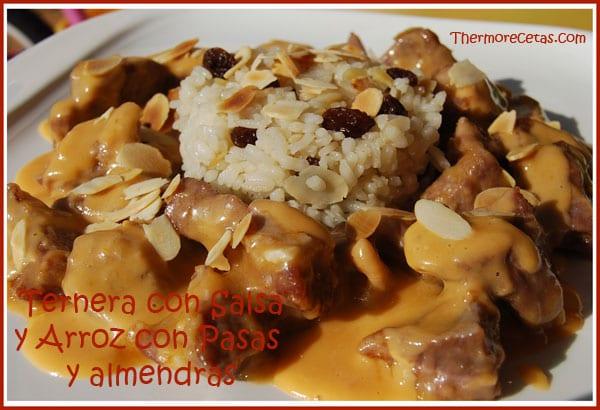 Receta thermomix Ternera con salsa y Arroz con pasas y almendras