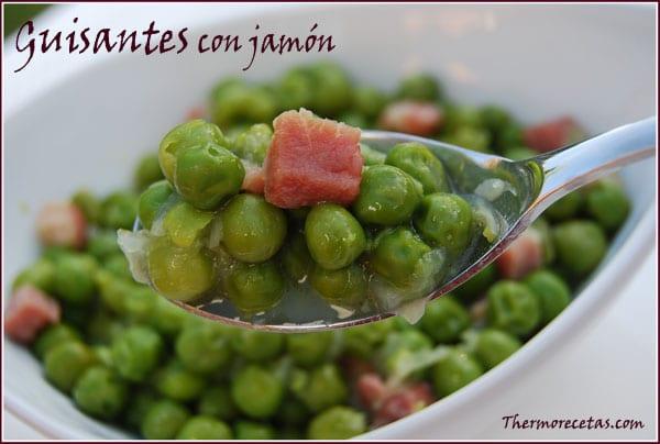receta facil thermomix guisantes con jamón