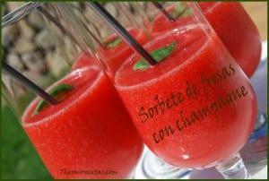 Receta Postres thermomix Sorbete de fresas con champagne