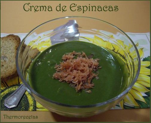Crema de verduras con espinacas, patata y puerro.