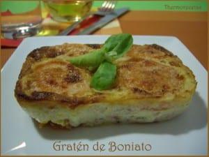 boniato cocico y mezclado con panceta, huevo, cebolla, queso y nata. Horneado y Gratinado.