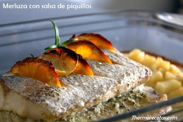 Merluza en salsa de piquillos recetas thermomix - Cocinar merluza en salsa ...