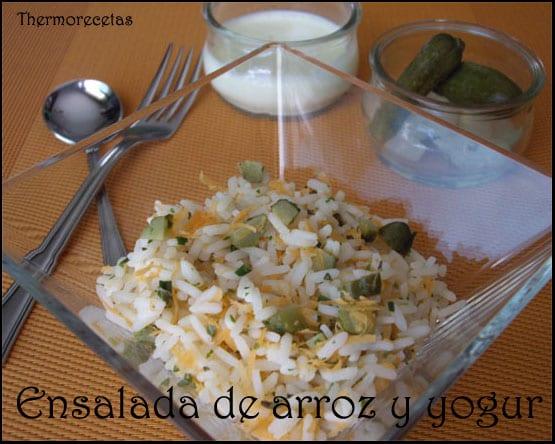 Ensalada de arroz basmati con zanahoria y pepino. Se acompaña de un aliño hecho con yogur, naranja y aceite.