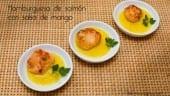 hamburguesa de salmón con salsa de mango