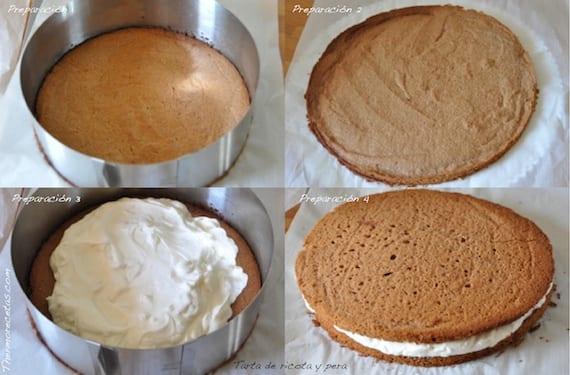 Preparación de la tarta de requesón o ricota y peras