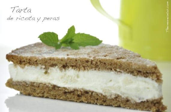 Tarta de requesón o ricota y peras