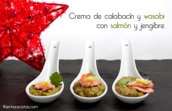 Crema de calabacín y wasabi con salmón fresco y jengibre
