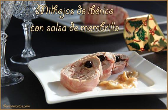 Milhojas de ibérico con salsa de membrillo