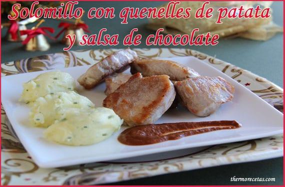 Solomillos con quenelles de patata y salsa de chocolate