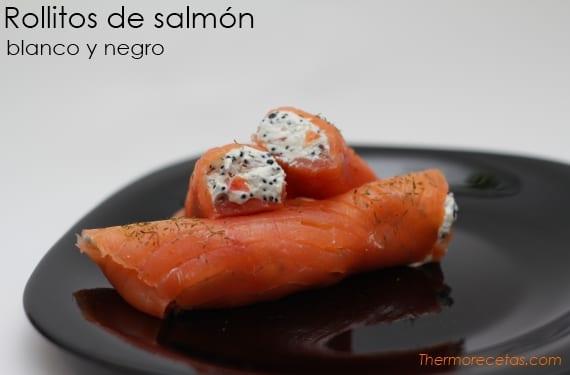 Rollitos de salmón ahumado blanco y negro