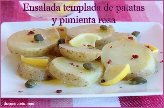 Ensalada templada de patatas y pimienta rosa