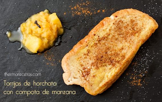 Torrijas de horchata con compota de manzana