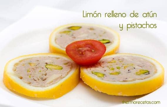 Limón relleno de atún y pistachos con Thermomix