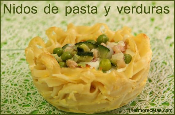 Nidos de pasta y verduras con Thermomix