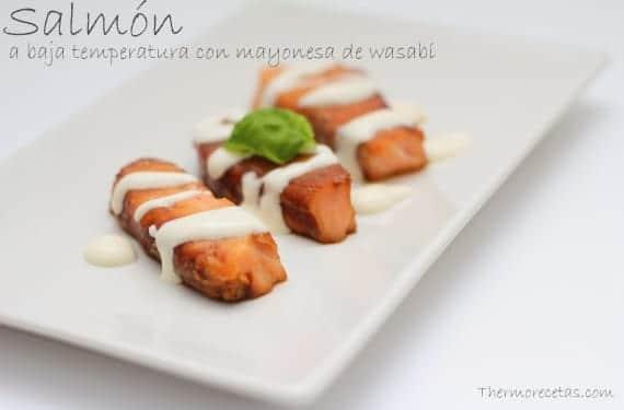 Salmón a baja temperatura con mayonesa de wasabi