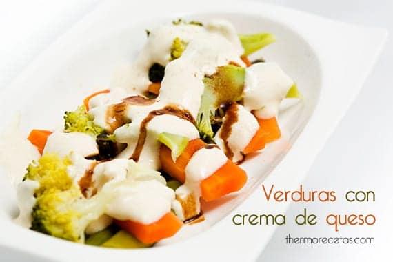 Verduras al vapor con crema de queso