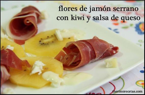 flores-de-jamón-serrano-con-kiwi-y-salsa-de-queso-thermorecetas