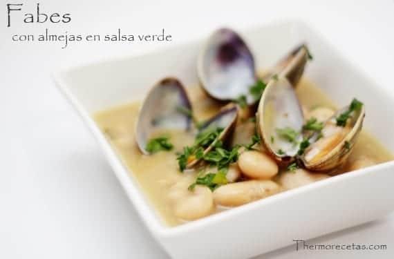Fabes con almejas a la marinera for Como preparar almejas en salsa