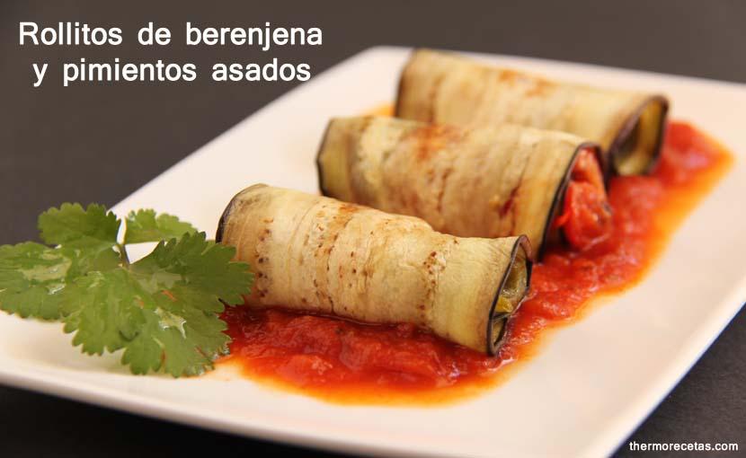 rollitos de berenjena y pimientos asados thermorecetas Rollitos de berenjena y pimientos asados
