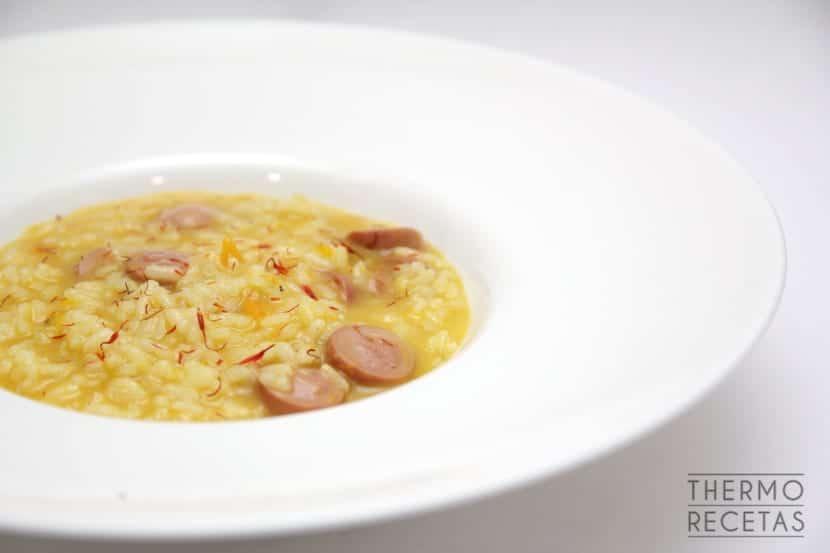 arroz meloso con salchichas y calabaza