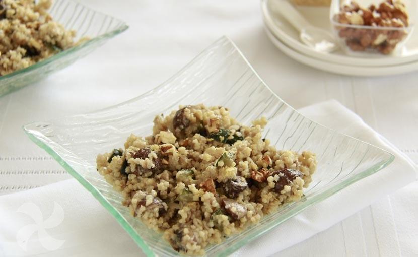 Risotto vegano de mijo, calabacín y champiñones