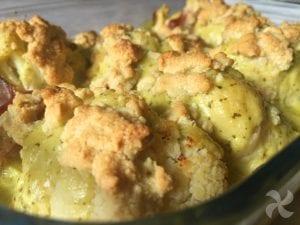 Coliflor con bechamel de pesto y crumble de anacardos 1
