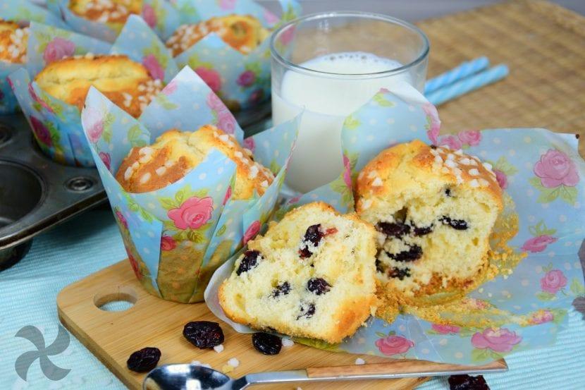 muffins de crema de yogur con arandanos rojos
