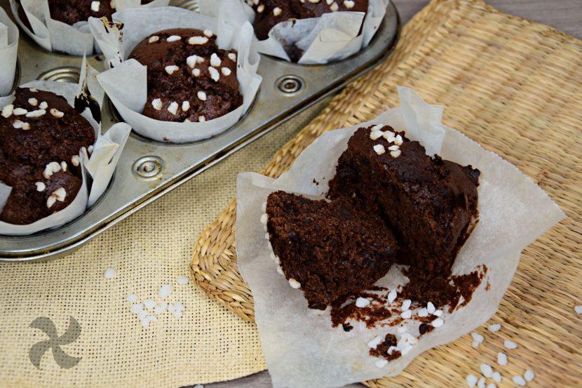 muffin de chocolate con centeno y espelta