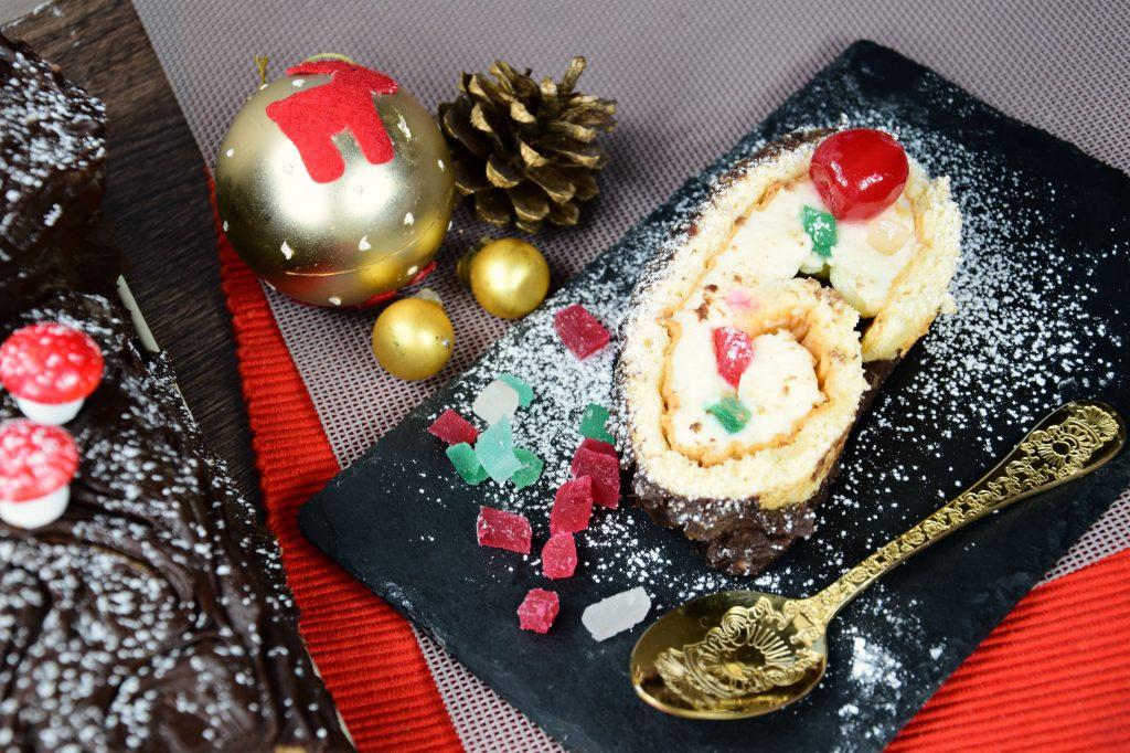 Tronco de Navidad de chocolate muy delicioso