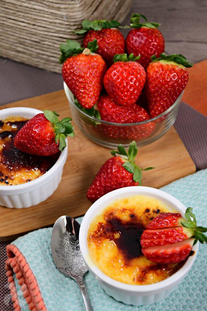 Crème brûlée con fresas