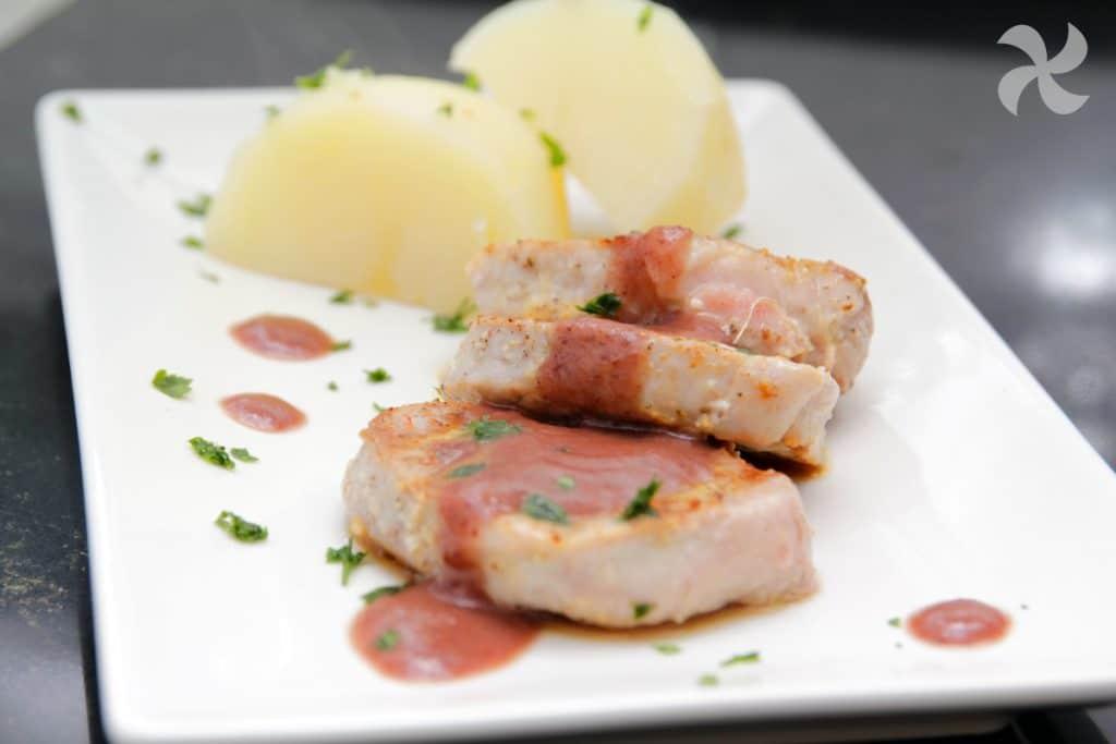 solomillos de cerdo con salsa de uvas
