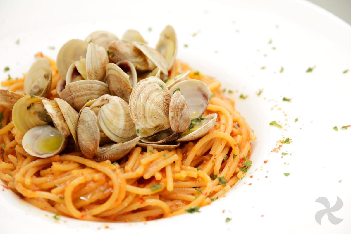 espaguetis integrales con chirlas