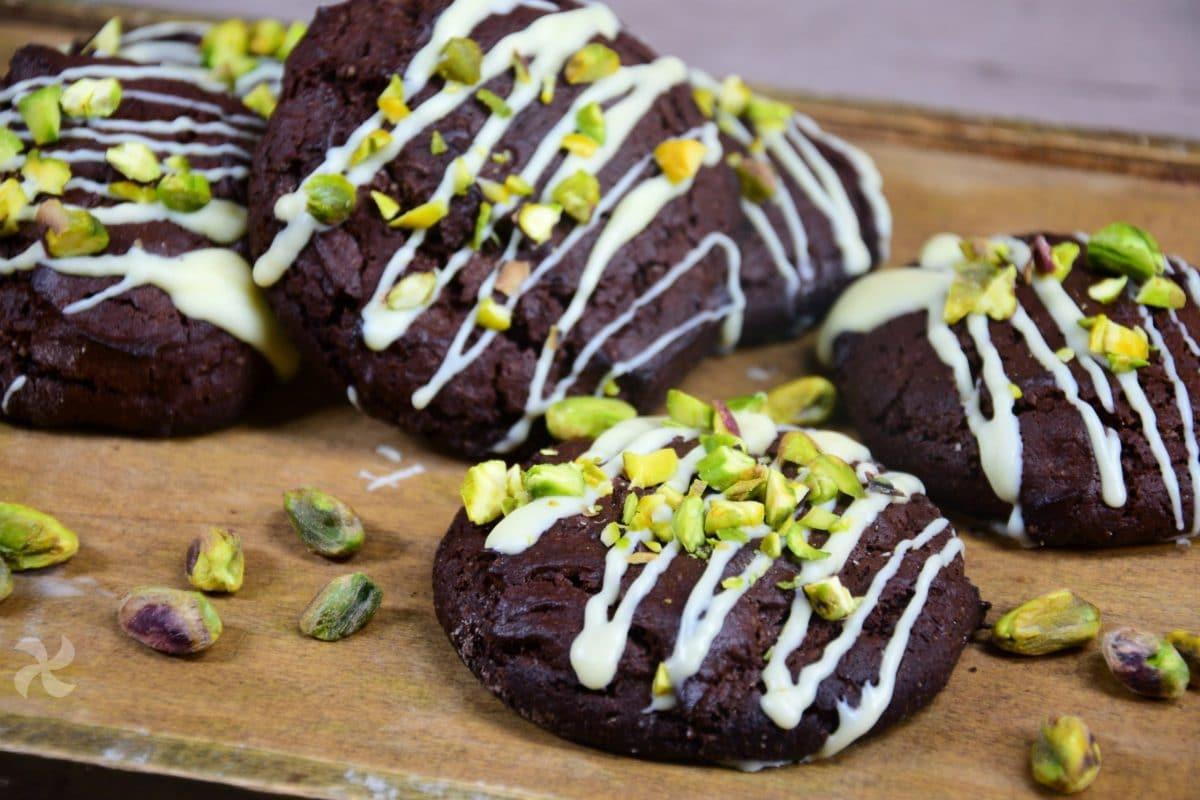 Galletas tipo brownie con pistachos