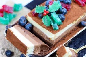 Pastel tres chocolates para Navidad